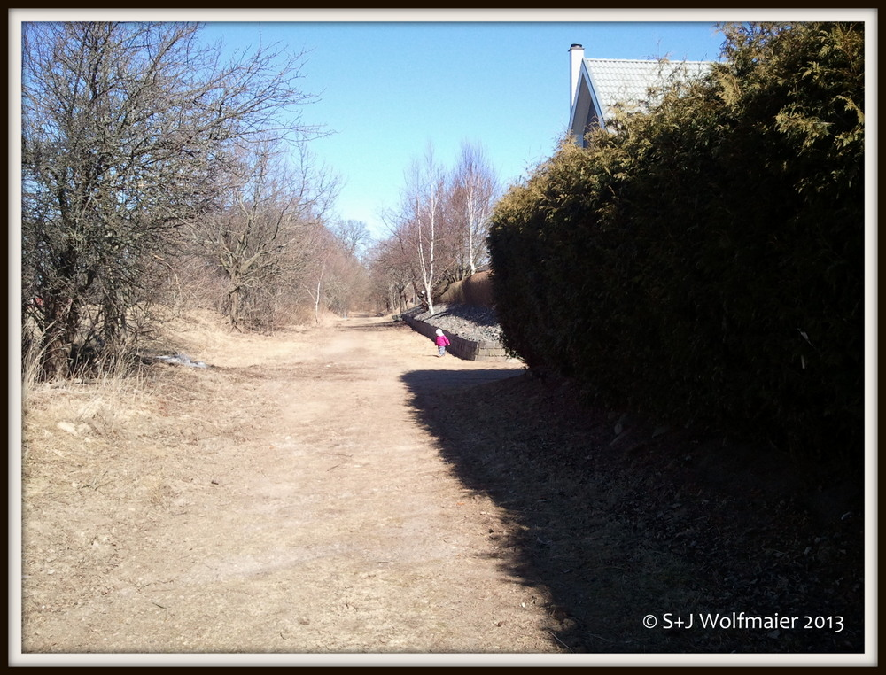 During our next visit to Skåne we let her go on her own along this dismantled railway line.